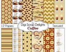 Coffee Scrapbook Papers, Coffee Clip Art for Digital Scrapbooking, Web Design, Crafts, Cards, Invites, Zazzle, Instant Download