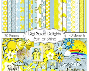 2 DOLLAR SALE! Digital Scrapbooking: Rain or Shine Digital Scrapbook Kit (Blue and Yellow), Instant Download SALE Save 2 dollars