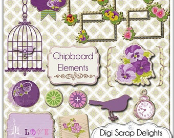 Vintage Pansies Frames, Bird, Bird Cage, Buttons Chipboard- Pansy  Clip Art - Elements for Digital Scrapbooking, Instant Download