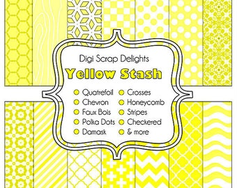 Yellow Stash Scrapbook Paper for Commerical Use, Designer Stash,  Instant Download