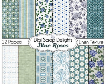 Vintage Blue Rose Papers - Cath Kidson, Shabby Chic Style Linen Textured Digital Papers, Instant Download