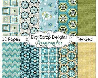 Digital Scrapbooking: Amanda Digital Textured Scrapbook Paper, Instant Download, Aqua, Teal, Blue, Green, Gold