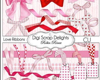 Hearts Digital Clip Art in Red and Pink Love Scrapbooking Valentine  for Cards, Digital Scrapbooking, Elements, Clip art