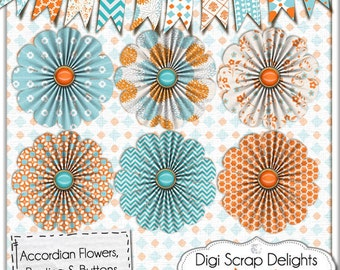 Aqua & Orange Bunting and Accordion Fold Flowers for Digital Scrapbooking, Crafts, Cards, Photographers, Collage, Instant Download