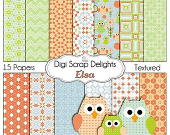 Elsa Owls Digital Papers w Owl Clip Art, in Peach, Green, Blue for Party, Scrapbooking, Card Making, Backgrounds, & Crafts, Instant Downloa
