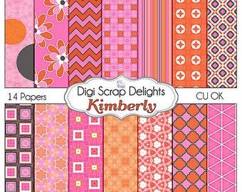 Digital Scrapbooking: Kimberly Digital Scrapbook Paper (Orange and Pink  w Chevron & Quatrefoil), Instant Download