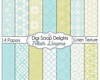 Fresh Linens Digital  Scrapbook Paper (Blue & Green Digital Scrapbooking) Instant Download