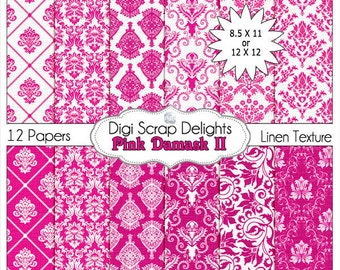 Damask Digital Papers in Pink for Photo Backdrops, Paper Crafts, and Digital Scrapbooking, Instant Download