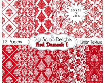 Red Damask Digital Papers for Photo Backdrops, Paper Crafts, and Digital Scrapbooking, Instant Download