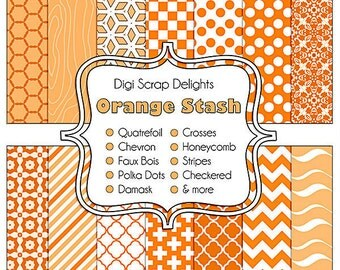 Orange Digital Scrapbook Paper for Commerical Use: scrapbooking, web design, card making, etc., Instant Download