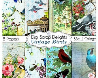 Vintage Digital Papers: Victorian Vintage Bird Collage Papers, Shabby Chic, Altered Art. Ephemera Style Digital Papers, Instant Download