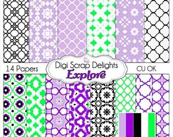 Explore Digital Scrapbook Paper, Instant Download, Purple & Green w Quatrefoil Patterns