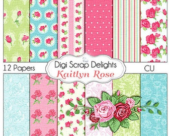 Shabby Chic Vintage Kaitlyn Rose Papers -Instant Download - Cath Kidson Style Digital Papers  Scrapbooking, Card Making, Photo Backgrounds