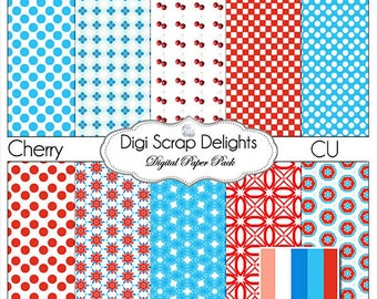 Red and Aqua Digital Scrapbook Papers or Backgrounds, Instand Download