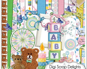 Baby Scrapbook Kits: Baby's Day Digital Scrapbooking Kit  in Pink, Blue, Yellow, Green