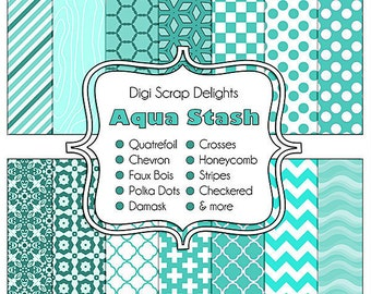 Aqua Scrapbook Paper, Instant Download,  for Digital Scrapbooking, Web Design, Crafts
