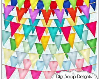 Digital Bunting Banners Clip art for cards, design, scrapbooking - commercial use OK, Instant Download