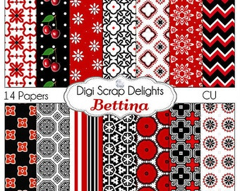 Red & Black Scrapbook Paper: Bettina  for Card Making,  Digital Scrapbooking, Web Design, Crafts, Phones, Backgrounds, Instand Download