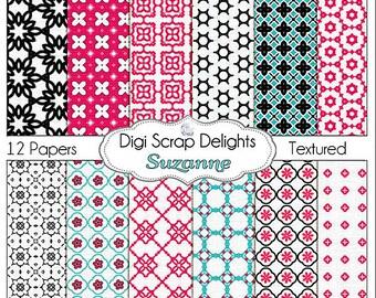 Digital Scrapbooking: Suzanne Digital Scrapbook Paper (Hot Pink, Turquoise, Black, Quatrefoil, Lattice)