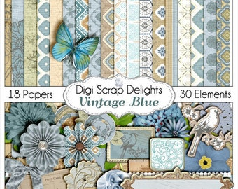 Shabby Chic Vintage Blue Scrapbook Kit for Digital Scrapbooking, Card Making, Photo Backgrounds, Instant Download