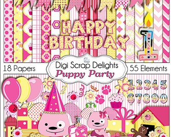 Puppy Clip Art Party Digital Scrapbook Kit  in Pink and Yellow w Birthday for Digital Scrapbooking, Card Making, Instant Download