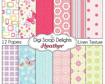 Heather Butterfly Digital Papers  Pink, Green, Blue, Purple for Card Making,Scrapbooking. Instant Download