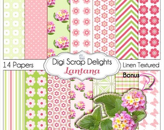Lantana Pink and Green Digital Papers   Digital Scrapbook Paper for Scrapbooking, Card Making, Instant Download