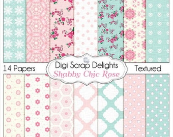 Shabby Chic Rose Papers (Cath Kidson Style Digital Papers) for Digital Scrapbooking, Card Making, Photo Backgrounds, Instant Download