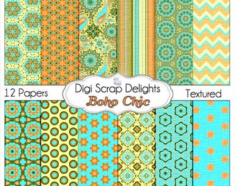 Boho Chic Digital Papers in Turquoise Aqua Orange w Chevron Paisley Patterns: Instant Download