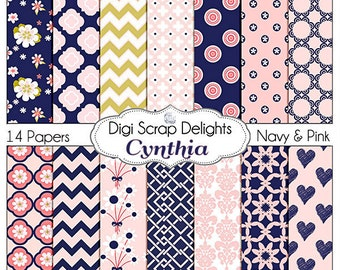 Pink and Navy Scrapbook Paper: Cynthia Digital Scrapbook Papers, Instant Download, Chevron, Quatrefoil
