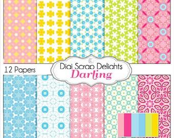 Darling Digital Scrapbook Paper in Pink, Yellow, Green, Blue, Instant Download