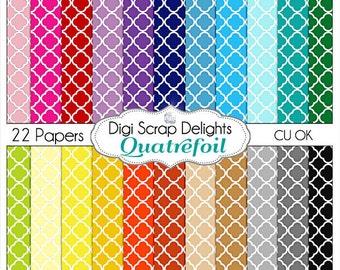 Quatrefoil Digital Scrapbook Paper Cards, Invites, Crafts, Decor, Printables, Teachers, Trendy Pattern, Instant Download
