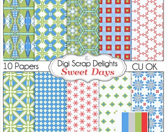 Sweet Days Digital Scrapbook Paper, Instant Download, in Red, Blue and Gray