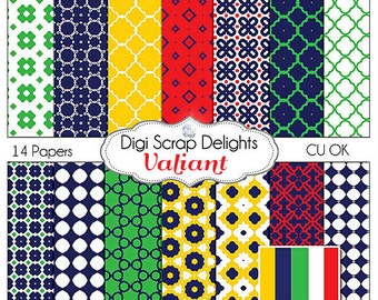 Digital Scrapbook Paper in Bold Navy, Green, Red, Yellow, Valiant, Instant Download,