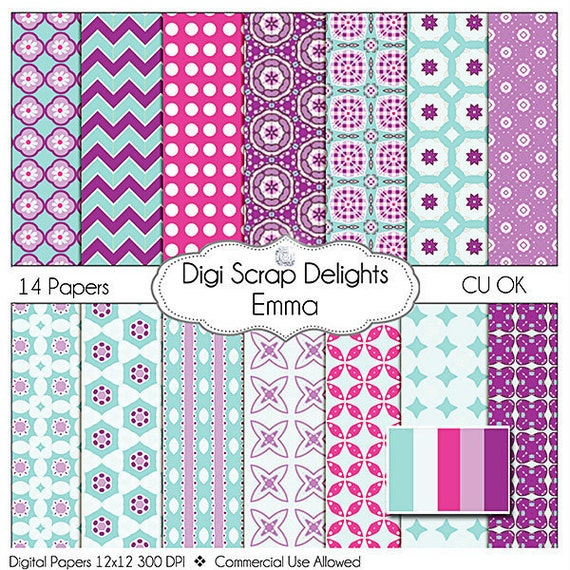Digital Scrapbooking: Emma Digital Scrapbook Paper (Turquoise Blue, Purple), Instant Download