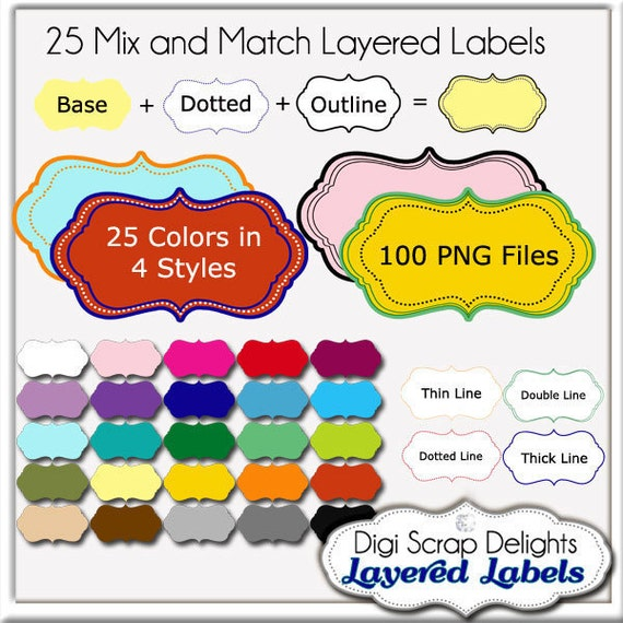Layered Labels Clip Art - Mix and Match Commercial Use Clip Art Frames Set 1