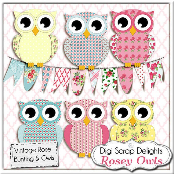Owl Clip Art, Vintage Rose Owls/ Bunting  Cath Kidston, Shabby Chic Style for Digital Scrapbooking, Birthday Invite, Instant Download