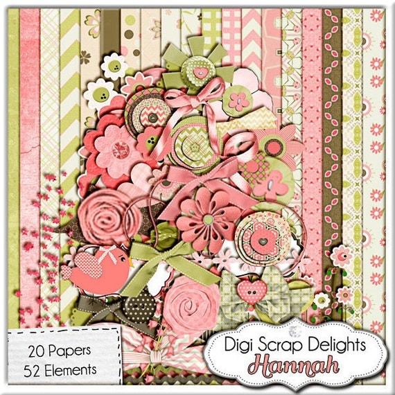 Hannah Mega Digital Scrapbook Kit (Coral Pink, Green, Brown), Instant Download