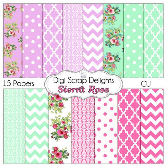 Shabby Chic Vintage Sierra Rose Digital Papers (Cath Kidson style ) w Quatrefoil, Chevron, Damask, Mint Green, Lilac, Pink, Instant Downloa