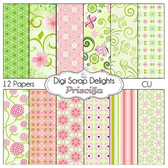 Pink and Green Digital Scrapbook Paper Priscilla for Scrapbooking, Card Making, Photo Backgrounds, Instant Download