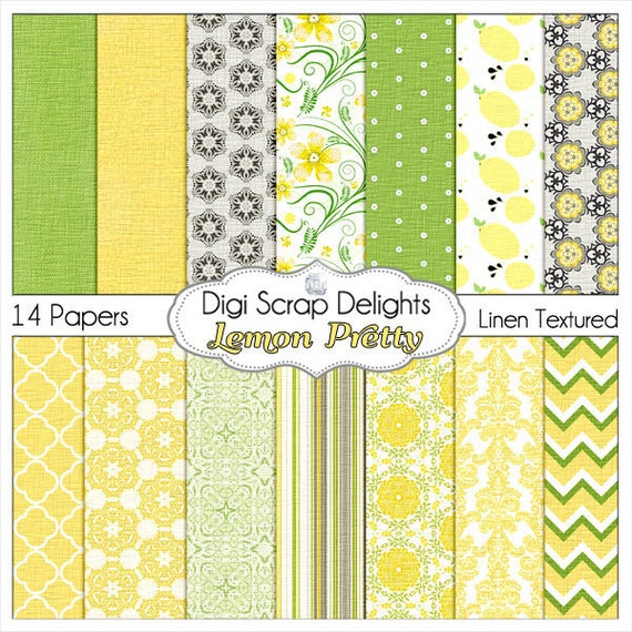 Lemon Pretty Digital Papers in Lime Green & Lemon Yellow Flowers, Swirls, Quatrefoil, Chevron, Damask, Instant Download