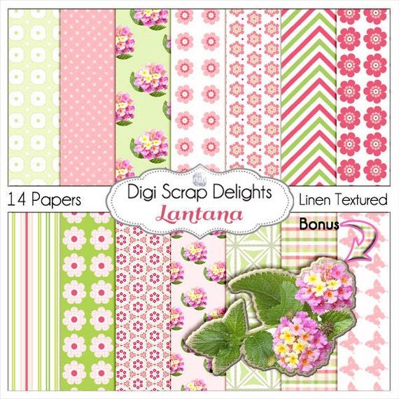 Lantana Pink and Green Digital Papers   Digital Scrapbook Paper for Scrapbooking, Card Making, Instant Download