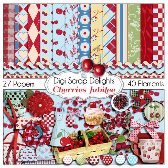 Cherries Jubilee Digital Scrapbook Kit in Red, Pink, Aqua Blue 27 Papers 40 Cherry Clip Art, Instant Download
