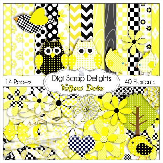 2 Dollar Sale Save 80%! Yellow & Black Dots and Daisies Digital Scrapbook Kit Owls, Birds, Polka Dots, Quatrefoil, Chevron. Flowers, Ribbons