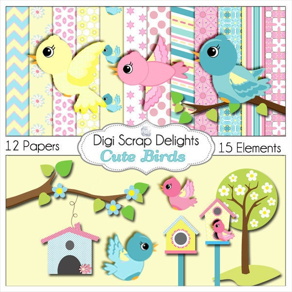 Cute Birds Clip Art Scrapbook Kit for Card by DigiScrapDelights