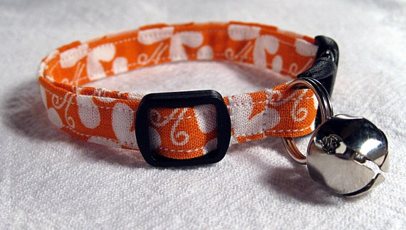 Bright Orange Cat Collar with White Butterfly Print