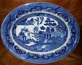 Blue and White Porcelain Serving Bowl Japanese Blue Willow Design Made in Japan