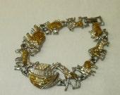 Noah's Ark Bracelet with Animals Silver Yellow Enamel Elephant Lion Giraffe Zebra Hippo