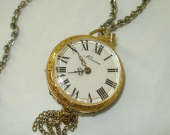 Norman Swiss Pocket Watch Pendant on Chain w/ Cupid Extremely Fancy Full Figured Mechanical Windup