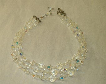 Glass Bead Necklace Three Strand Faceted Aurora Borealis Brilliant Beads Great for Wedding